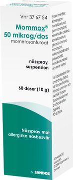 Mommox Kortison Nässpray Nässpray, suspension 50 mikrogram/dos Mometason 60 dos(er)