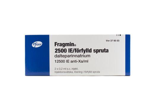 Fragmin Injektionsvätska, lösning, förfylld spruta 2500 IE Dalteparin 2 x 0,2 milliliter