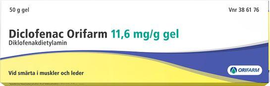 Diclofenac Orifarm 11,6 mg/g Diklofenak, gel, 50 g