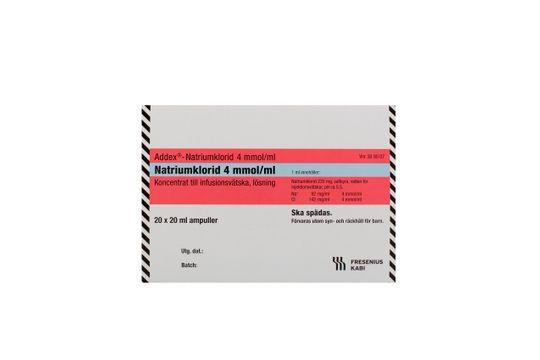 Addex-Natriumklorid Koncentrat till infusionsvätska, lösning 4 mmol/ml Natriumklorid 20 x 20 milliliter