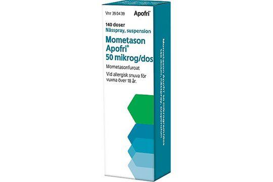 Mometason Apofri 50 mikrog/dos Mometason, nässpray, suspension, 140 doser