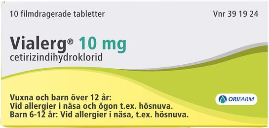 Vialerg 10 mg Cetirizin, tablett, 10 st