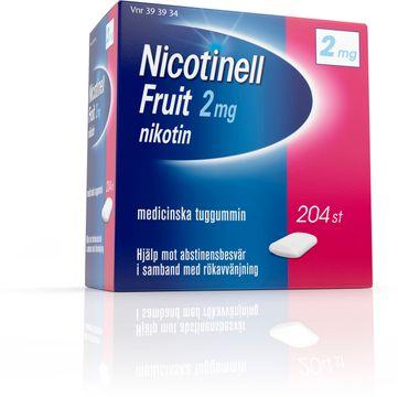 Nicotinell Fruit 2 mg Nikotin, medicinskt tuggummi, 204 st