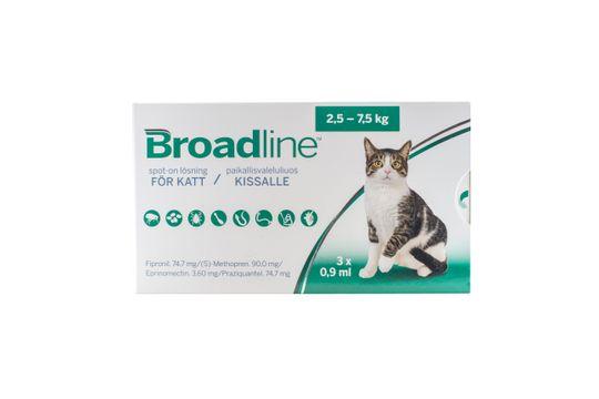 BROADLINE för katter 2,5-7,5 kg Spot-on, lösning 3 x 0,9 milliliter