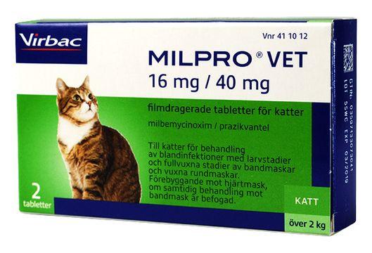 Milpro vet 16 mg/40 mg Milbemycin/prazikvantel, tablett, 2 st