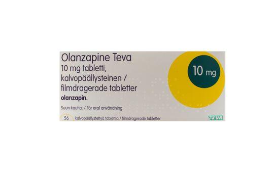Olanzapine Teva Filmdragerad tablett 10 mg Olanzapin 56 tablett(er)