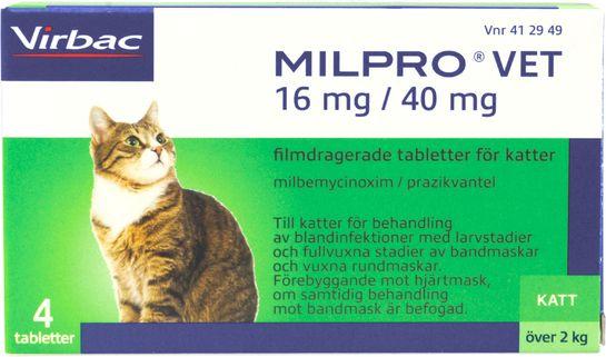 Milpro vet 16 mg/40 mg Milbemycinoxim/Prazikvantel, filmdragerad tablett, 4 st