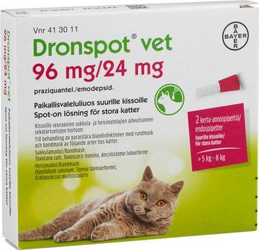 Dronspot vet 96 mg/ 24 mg Emodepsid/Prazikvantel, spot-on, lösning, 2 st
