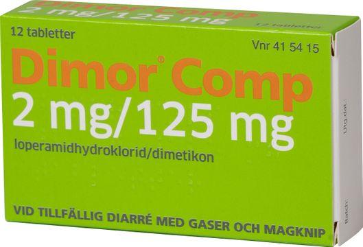 Dimor Comp 2 mg/125 mg Loperamid/Simetikon, tablett, 12 st