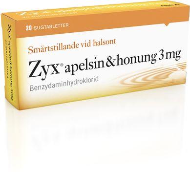 Zyx apelsin & honung Sugtablett 3 mg 2 x 10 tablett(er)