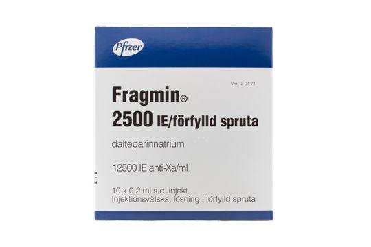 Fragmin Injektionsvätska, lösning, förfylld spruta 2500 IE Dalteparin 10 x 0,2 milliliter