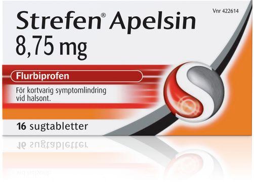 Strefen Apelsin 8,75 mg Flurbiprofen, sugtablett, 16 st