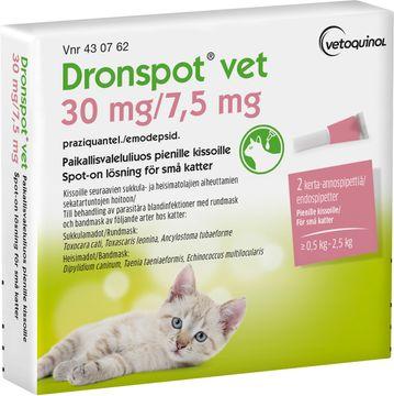 Dronspot vet 30 mg/ 7,5 mg För katt Praziquantel/Emodepside, spot-on lösning, 2 doser