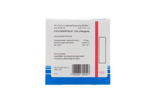 Cyclopentolat Bausch & Lomb Ögondroppar, lösning i endosbehållare 1 % (10 mg/ml) 20 x 0,5 milliliter