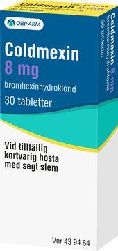 Coldmexin 8 mg Bromhexin, tablett, 30 st