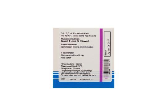 Fluoresceinnatrium Bausch & Lomb Ögondroppar, lösning i endosbehållare 2 % (20 mg/ml) 20 x 0,5 milliliter