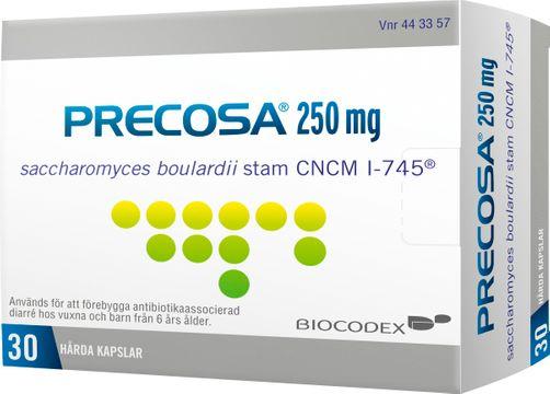 Precosa 250 mg Saccharomyces boulardii, kapsel, hård, 30 st