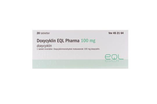 Doxycyklin EQL Pharma Tablett 100 mg Doxycyklin 20 tablett(er)