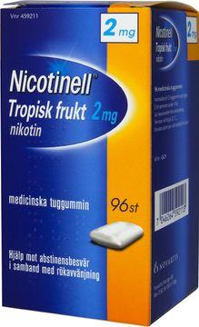 Nicotinell Tropisk frukt Medicinskt nikotintuggummi, 2 mg, 96 st