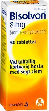Bisolvon Mot slemhosta. Tablett 8 mg 50 tablett(er)
