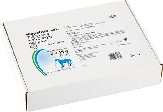 Hippotrim vet. Oral pasta 288,3 mg/g + 58,0 mg/g 5 x 45 gram