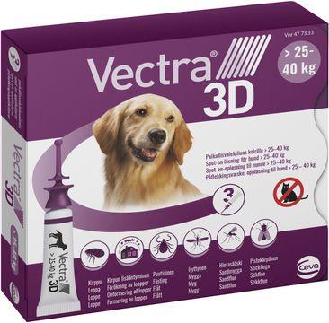 Vectra 3D för hund 25-40 kg Spot-on fästingmedel, lösning, 3 x 4,7 ml