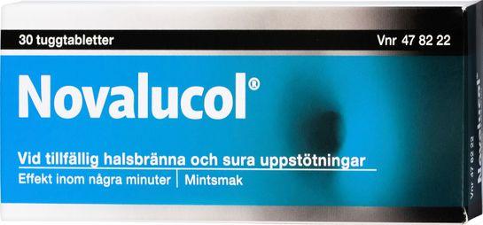 Novalucol Kalciumkarbonat/Magnesiumhydroxid, tuggtablett, 30 st