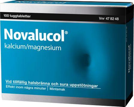 Novalucol Kalciumkarbonat/Magnesiumhydroxid, tuggtablett, 100 st