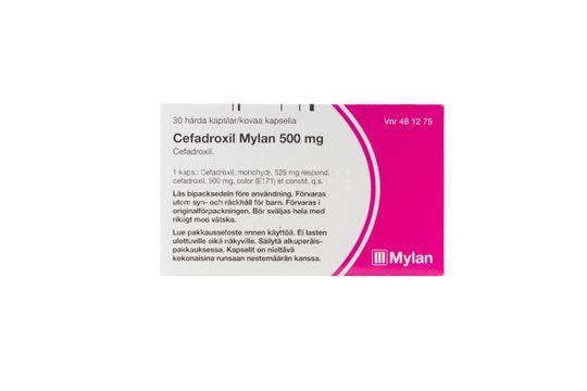 Cefadroxil Mylan Kapsel, hård 500 mg Cefadroxil 30 kapsel/kapslar