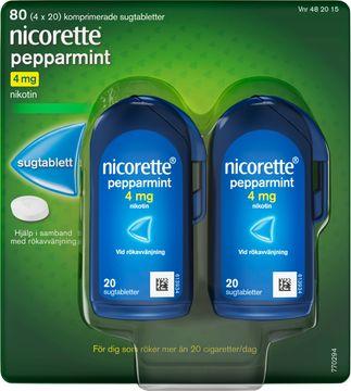 Nicorette Pepparmint 4 mg Komprimerad sugtablett med nikotin,  4 x 20 st