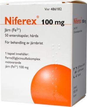 Niferex 100 mg Järn(II)glycinsulfat, enterokapsel hård, 50 st