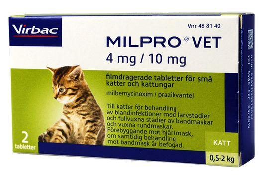 Milpro vet 4 mg/10 mg Milbemycinoxim/Prazikvantel, filmdragerad tablett, 2 st