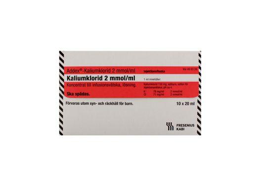 Addex-Kaliumklorid Koncentrat till infusionsvätska, lösning 2 mmol/ml 10 x 20 milliliter