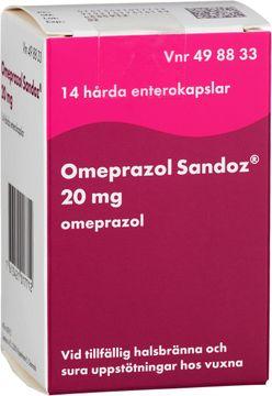 Omeprazol Sandoz 20 mg Omeprazol, enterokapsel, hård, 14 st