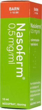 Nasoferm 0,5 mg/ml Xylometazolin, nässpray, lösning, 10 ml