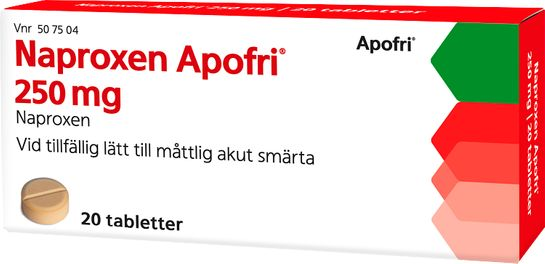 Naproxen Apofri 250 mg Naproxen, tablett, 20 st