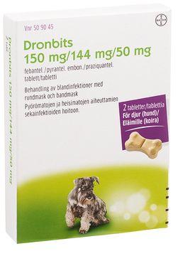 Dronbits 150 mg/144 mg/50 mg För hund Tablett, 2 st