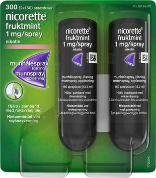 Nicorette Fruktmint 1 mg/spray Nikotin, munhålespray, 2x150 doser