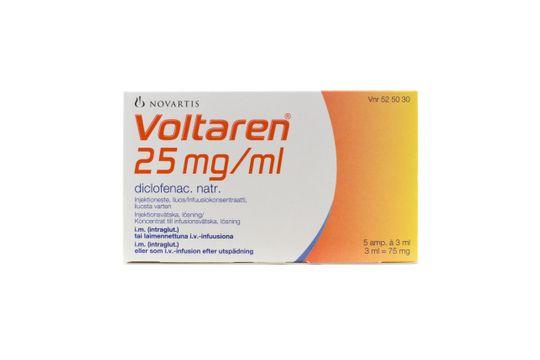Voltaren Injektionsvätska, lösning 25 mg/ml Diklofenak 5 x 3 milliliter