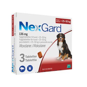 NEXGARD för hund >25-50 kg Tuggtablett 136 mg 3 tablett(er)