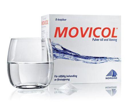Movicol Pulver till oral lösning i dospåse Makrogol, kaliumklorid, natriumbikarbonat, natriumklorid 8 styck
