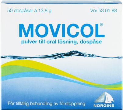 Movicol Pulver till oral lösning i dospåse Makrogol, kaliumklorid, natriumbikarbonat, natriumklorid 50 styck