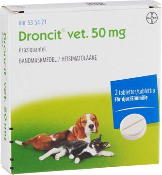 Droncit vet 50 mg För katt och hund Praziquantel, tablett, 2 st