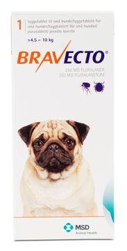 Bravecto för små hundar (>4,5-10 kg) Tuggtablett 250 mg 1 tablett(er)