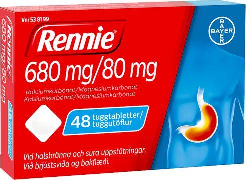 Rennie 680 mg/80 mg Kalciumkarbonat/Magnesiumkarbonat, tuggtablett, 48 st