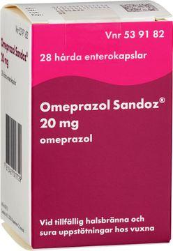 Omeprazol Sandoz 20 mg Omeprazol, enterokapsel, hård, 28 st