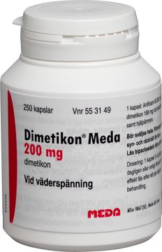 Dimetikon Meda 200 mg Simetikon, kapsel, 250 st