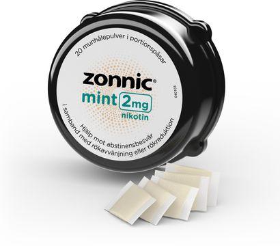 Zonnic Mint 2 mg Nikotin, munhålepulver i portionspåse, 20 st