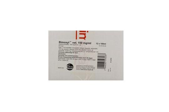 Bimoxyl vet. Injektionsvätska, suspension 150 mg/ml 12 x 100 milliliter