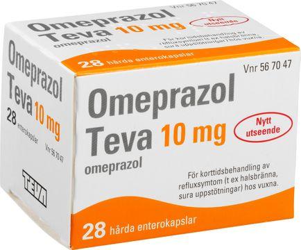Omeprazol Teva Enterokapsel, hård 10 mg Omeprazol 28 kapsel/kapslar